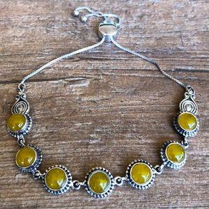 Burmese Yellow Jade Bolo Bracelet